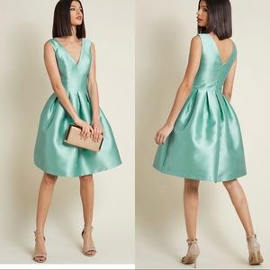 ModCloth Sweetly Celebrated Fit & Flare Dress Sage